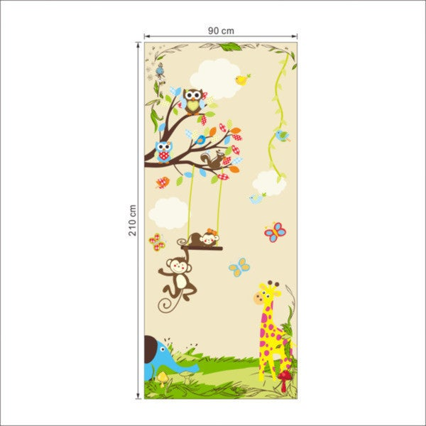 Multicolored Vinyl Tall Jungle of Friends 83-inch x 36-inch Removable Wall Graphic