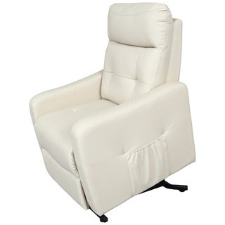 Porter Aurora Soft Cream Leather Alternative Power Recliner Lift Assist Chair