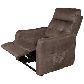 Porter Aurora Espresso Brown Breathable Leather Alternative Power Recline Lift Assist Chair