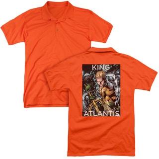 JLA/King Of Atlantis (Back Print) Mens Regular Fit Polo in Orange
