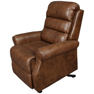 Porter Diana Breathable Leather Alternative Tobacco Brown Power Reclining Lift Assist Chair
