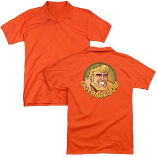 Batman Bb/Outrageous (Back Print) Mens Regular Fit Polo in Orange