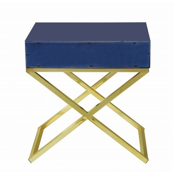 Chic Home Bogart Lacquer Metal Cross Leg Side Table   Free Shipping Today    Overstock.com   18864860