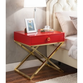 Chic Home Bogart Lacquer Metal Cross Leg Side Table