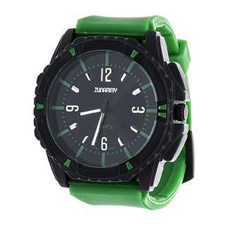 Zunammy Men's Matte Black Case and Green Dial / Green Rubber Strap Watch