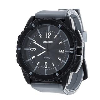 Zunammy Jumbo Men's Matte Black Case and Grey Dial / Grey Rubber Strap Watch