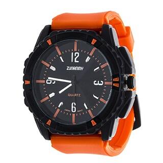 Zunammy Jumbo Men's Matte Black Case and Dial / Orange Rubber Strap Watch