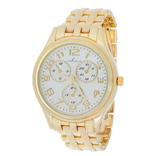 Via Nova Boyfriend Women's Gold Case and Gold Strap Watch