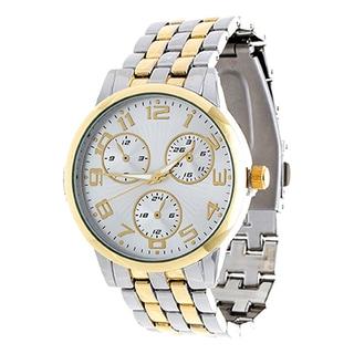 Via Nova Boyfriend Women's Gold Case with Gold & Silver Strap Watch
