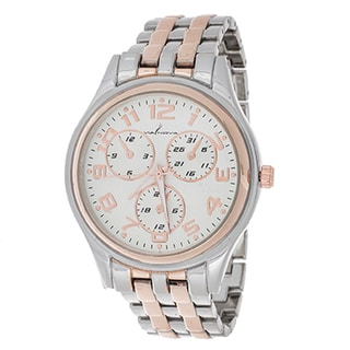 Via Nova Boyfriend Women's Rosetone Case with Silver & Rose Strap Watch