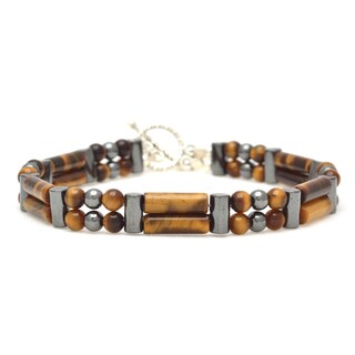 Healing Stones for You Gold Tiger Eye Double Power Bracelet 'Enhance Psychic Ability'