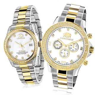 Luxurman Yellow Gold-plated Diamond Watch Set for Couples