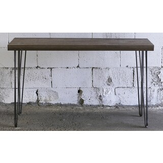 Hobbitholeco. Brown Metal/Wood 15-inch x 48-inch Console Table