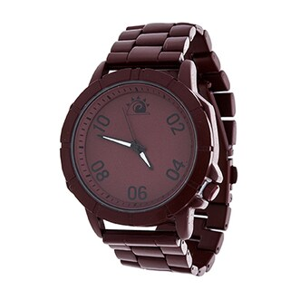 Zunammy Men's Burgundy Case and Dial / Burgundy Alloy Strap Watch