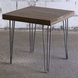 Hobbitholeco. Brown Wood and Metal 20-inch x 20-inch End Table