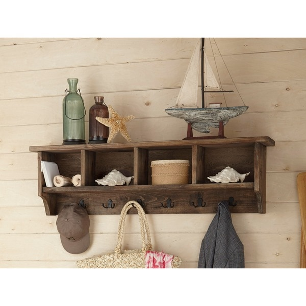 Modesto 48 Inch Natural Brown Metal/Wooden Coat Hooks With Storage   Free  Shipping Today   Overstock.com   18865083