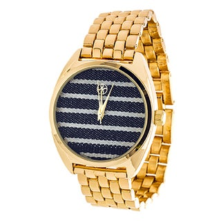 Fortune NYC Ladies Goldtone Case/ Blue Stripes Fabric Dial with Gold Strap Watch