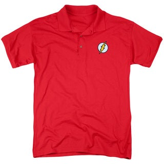 DC/Embroidered Flash Mens Regular Fit Polo in Red