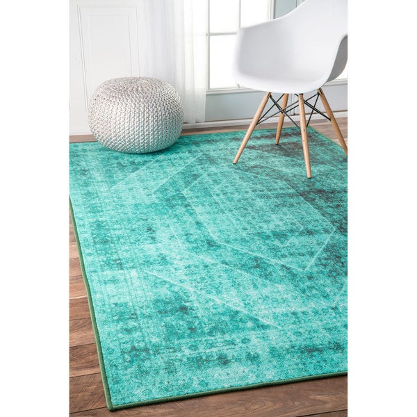 Nuloom Vintage Inspired Turquoise Overdyed Rug: Shop NuLOOM Vintage Overdyed Turquoise Rug (4' X 6