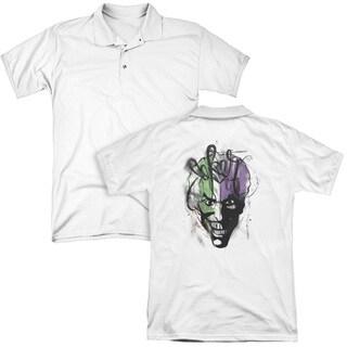 Batman/Joker Airbrush (Back Print) Mens Regular Fit Polo in White