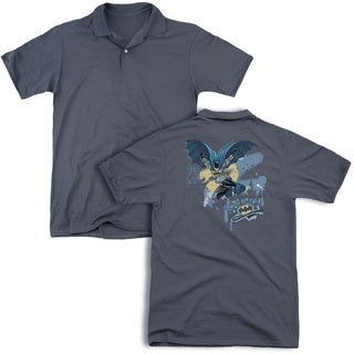 Batman/Into The Night (Back Print) Mens Regular Fit Polo in Charcoal