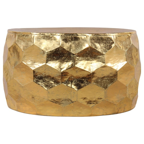 Gemoratic hammered gold leaf metal coffee table free shipping today 18865156 Gold metal coffee table