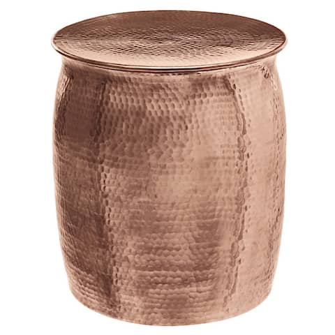 Horizon Plated Copper Hammered Rose Gold Aluminum Side Table Stool