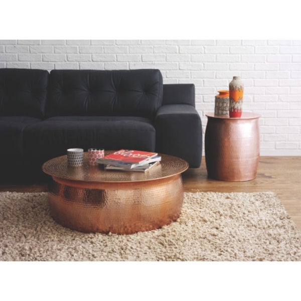 Perfect Horizon Plated Copper Hammered Rose Gold Aluminum Side Table Stool   Free  Shipping Today   Overstock.com   18865189