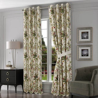 Tribeca Living Maui Cotton Grommet Top Lined Curtain Panel Pair With Tiebacks