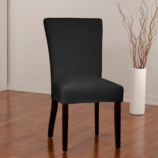 CoverWorks Montgomery Black 1-piece Stretch Dining Chair Slipcover (Pack of 4)