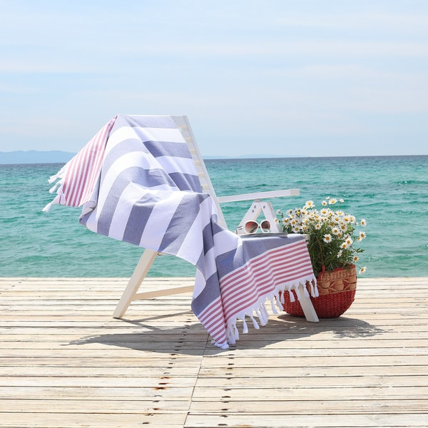 Authentic Pestemal Fouta Sam Red, White and Blue Turkish Cotton Bath/ Beach Towel