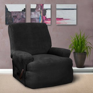 CoverWorks Montgomery Black 1-piece Classic Stretch Recliner Slipcover