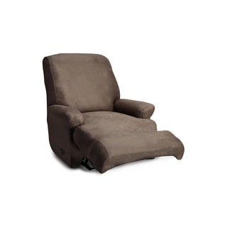 QuickCover Coverworks Brown Polyester/Spandex Stretch Leather 1-piece Classic Recliner Slipcover