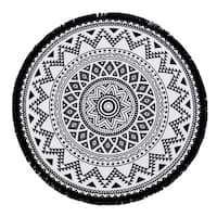Authentic Pestemal Fouta Bella Black & White Turkish Cotton Round Beach Towel