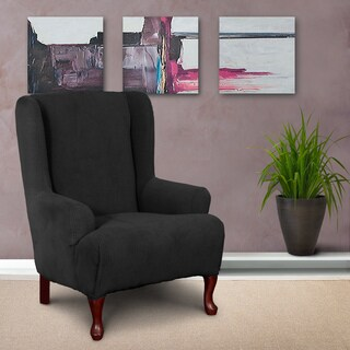 CoverWorks Montgomery Black 1-piece Classic Stretch Wing Chair Slipcover