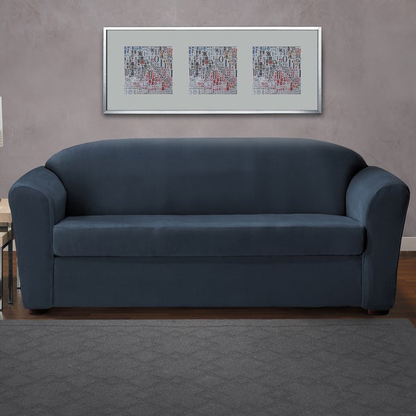 coverworks eastwood blueneutral 2piece classic stretch sofa slipcover