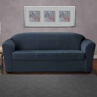 CoverWorks Eastwood Blue/Neutral Polyester/Spandex 2-piece Classic Stretch Sofa Slipcover