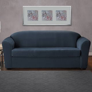 CoverWorks Eastwood Blue/Neutral 2-piece Classic Stretch Sofa Slipcover