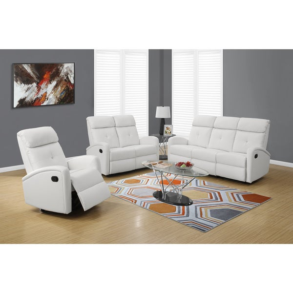Monarch White Bonded Leather Swivel Glider Recliner by Monarch