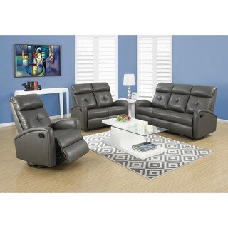 Monarch Charcoal Grey Bonded Leather Recliner/Swivel Glider