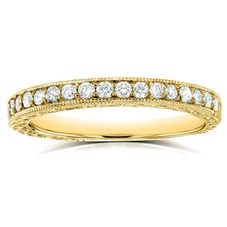 Annello by Kobelli 14k Yellow Gold 1/3ct TDW Round Diamond Antique Wedding Band