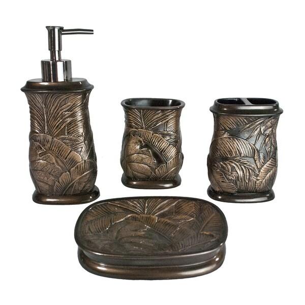 Sherry kline tropicana 4 piece bath accessory set free for Bathroom 4 piece set