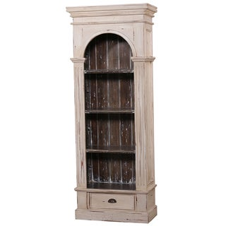 Bramble Co. Roosevelt Single Arch 3-shelf Antique Cream Mahogany Bookcase