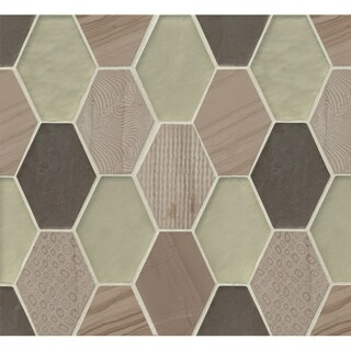 Retro Hexagon Pattern Mosaic Mohair Stone and Glass Tile (Box of 11 Sheets) (More options available)