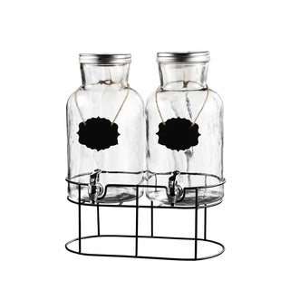 Clear Glass Duo Beverage Dispensers