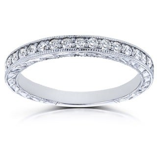 Link to Annello by Kobelli 14k White Gold 1/3ct TDW Round Diamond Antique Wedding Band Similar Items in Wedding Rings