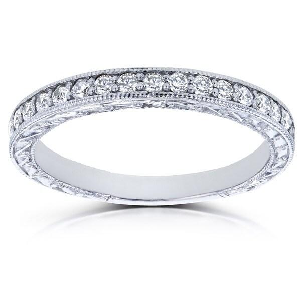 Annello by Kobelli 14k White Gold 1/3ct TDW Round Diamond Antique Wedding Band