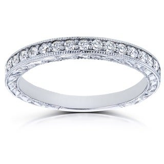 Annello by Kobelli 14k White Gold 1/3ct TDW Round Diamond Antique Wedding Band