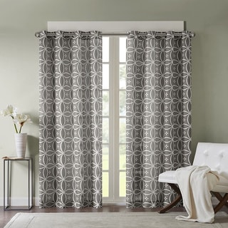 Madison Park Misha Texture Fret Printed Curtain Panel