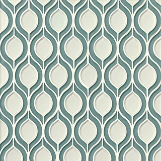 Bedrosians Mallorca Collection Blue/Beige Glass Torre Mosaic Sail White Line Tiles (Pack of 8 Sheets)